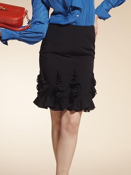Black Work Ruffled Mini Skirt
