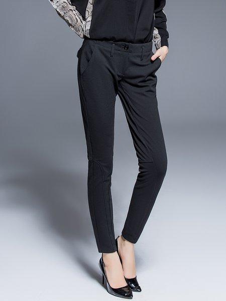 Black Plain Work Polyester Buttoned Skinny Leg Pants