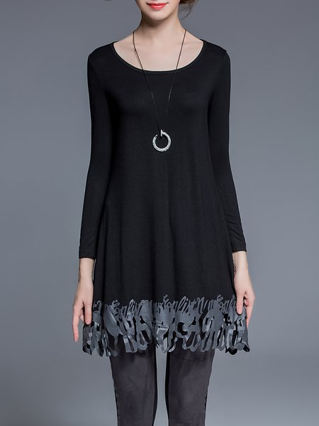 Black Work Plain Cutout Spandex Tunic