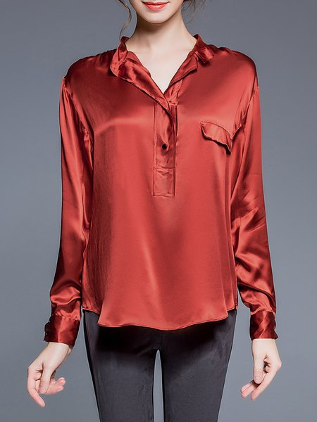 Rust Paneled Work Stand Collar Blouse