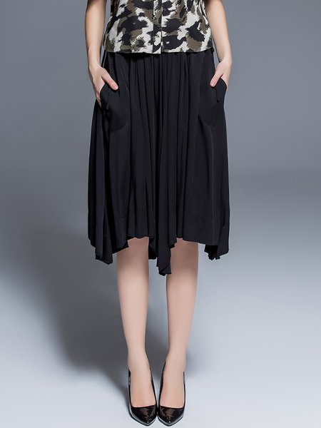 Black Asymmetrical Viscose Plain Work Midi Skirt