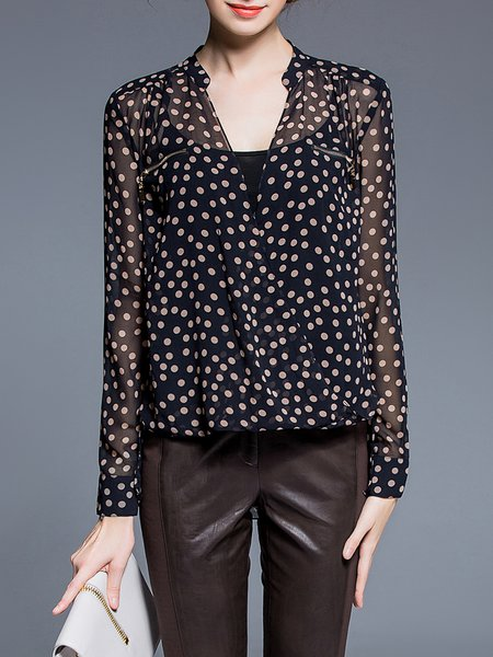 Black Plunging Neck Polka Dots Long Sleeve Printed Blouse