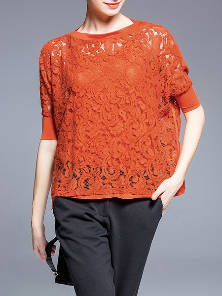 Orange Guipure Lace Half Sleeved Top