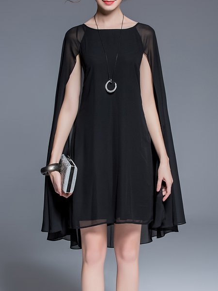 Black Elegant Paneled Bateau/boat Neck Solid Midi Dress