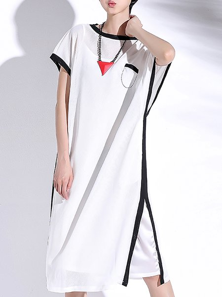 Batwing Two Piece Plain Polyester Casual Midi Dress