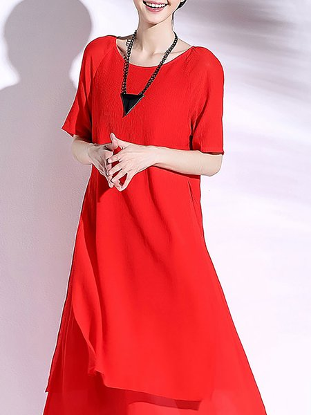 Red Half Sleeve Crew Neck Casual Paneled Midi Dress