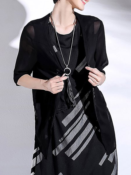 Black Casual Asymmetric Half Sleeve Cardigan