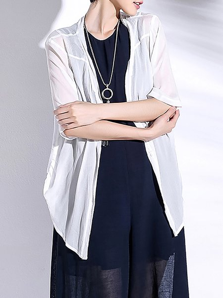 White Casual Asymmetric Half Sleeve Cardigan