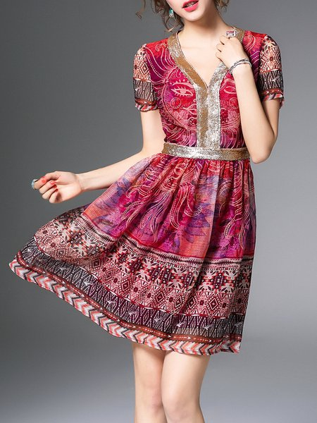 Fuchsia V Neck Casual Mini Dress