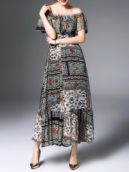 Blue Flounce Tribal Elegant Printed Midi Dress