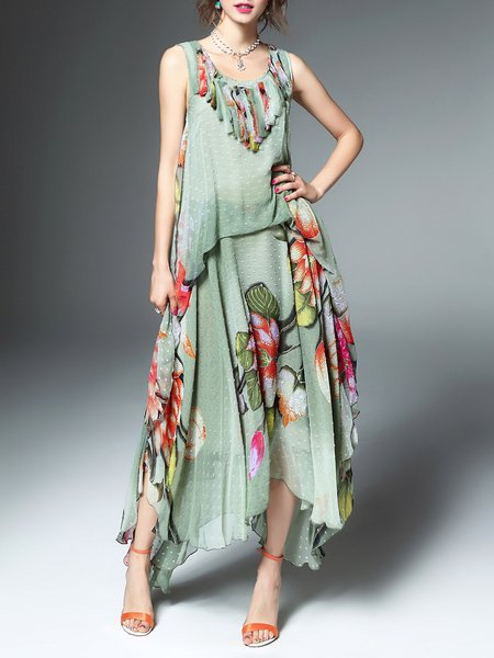 Multicolor Polyester Sleeveless Asymmetrical Printed Maxi Dress