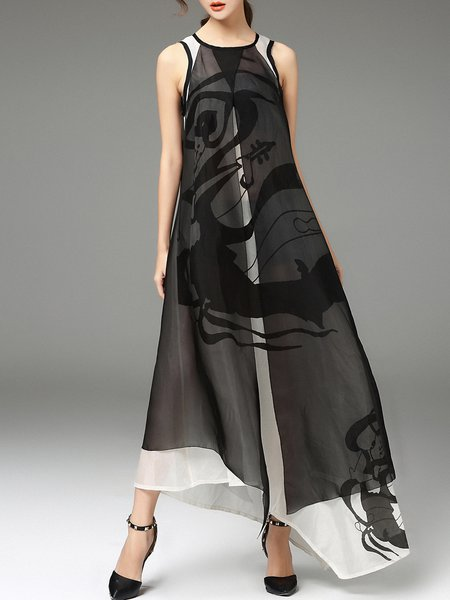Sleeveless Graphic Printed Vintage Asymmetrical Maxi Dress