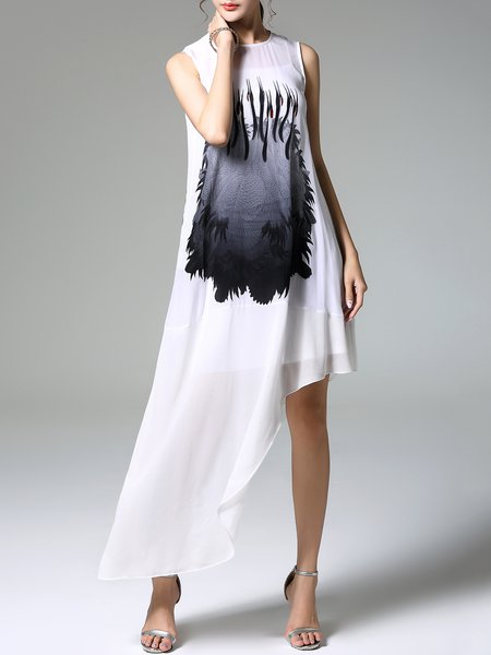 White Animal Print Asymmetrical Silk Sleeveless Midi Dress
