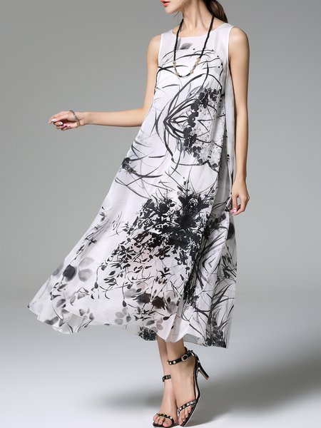 Vintage Graphic Printed Silk Sleeveless Crew Neck Maxi Dress