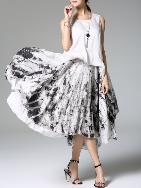 Zipper Casual Swing Sleeveless Abstract Maxi Dress
