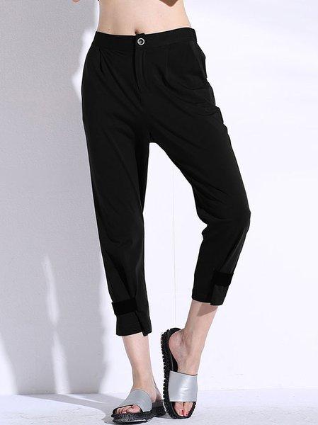 Black Plain Casual Cotton-blend Cropped Pant