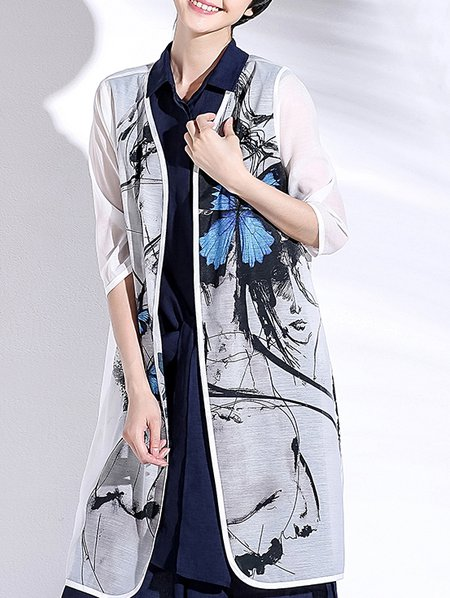 White Graphic Simple H-line Polyester Coat