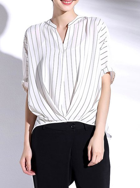 White Stripes Simple Blouse