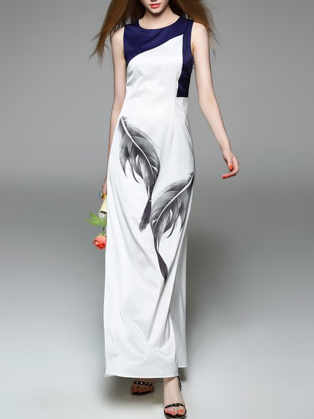 White Crew Neck Sleeveless Printed Silk Maxi Dress