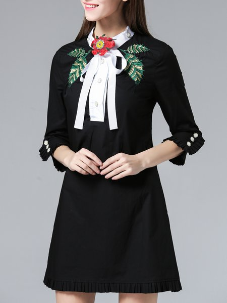 Girly Cotton Embroidered 3/4 Sleeve Shirt Collar Shirt Dress