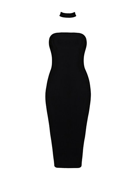 Black Plain Cocktail Bandage Midi Dress