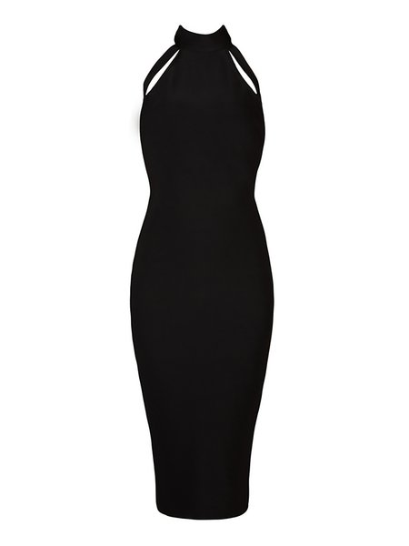 Gray Cocktail Bodycon Plain Midi Dress