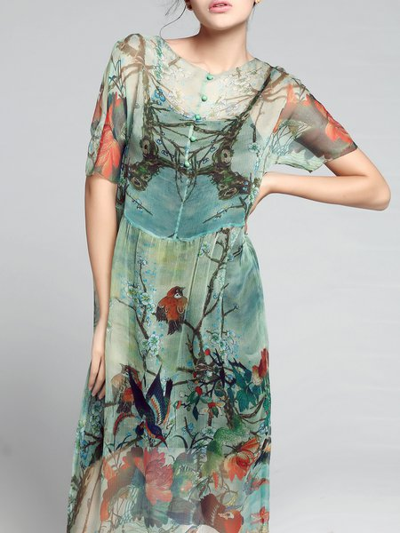 Multicolor Short Sleeve Silk Graphic Midi Dress