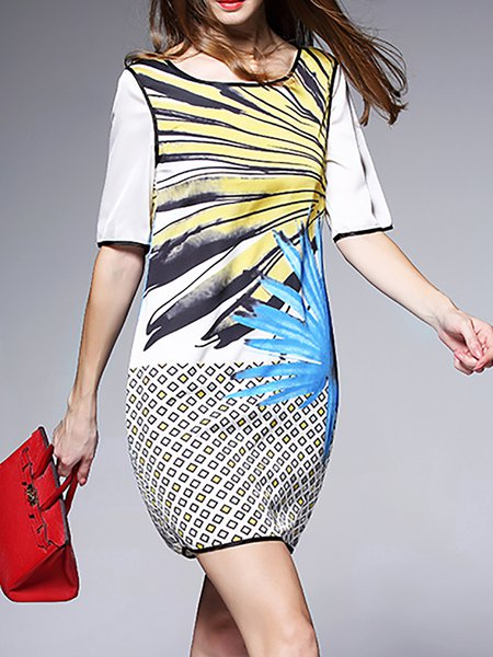 Multicolor Abstract Crew Neck Half Sleeve Mini Dress