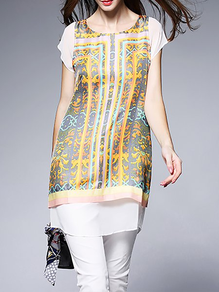 Multicolor Casual Crew Neck Silk Printed Tunic