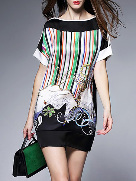 Multicolor Printed Short Sleeve Shift Abstract Mini Dress