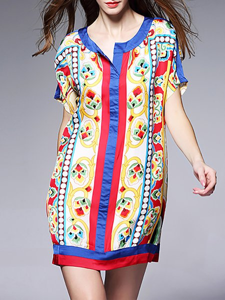 Crew Neck Statement Short Sleeve Silk Printed Mini Dress