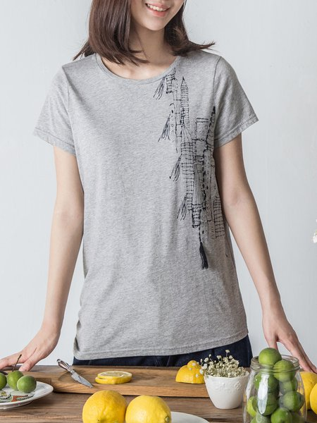 Light Gray Cotton Short Sleeve H-line T-Shirt
