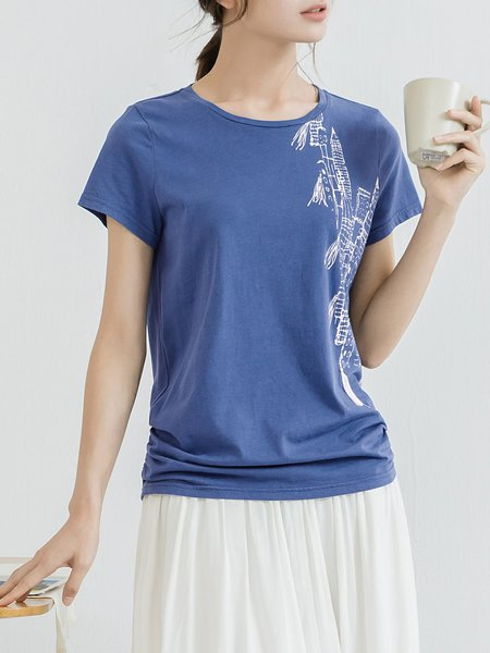 Navy Blue Cotton Short Sleeve T-Shirt