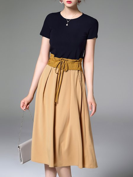 Short Sleeve Paneled Work Plain Midi Dress
