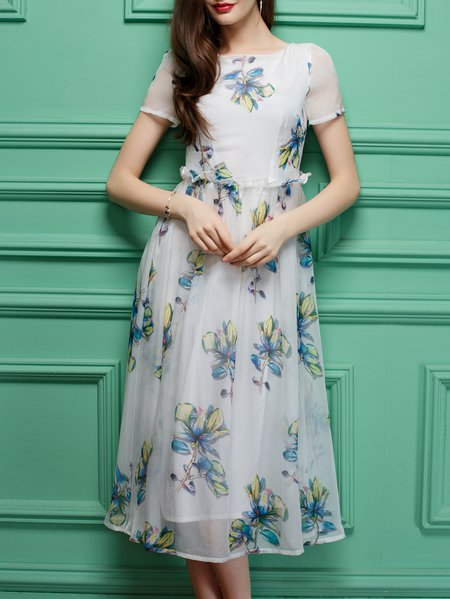 Multicolor Printed A-line Floral Short Sleeve Midi Dress