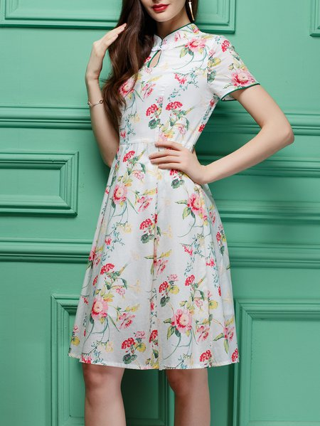 White Keyhole Vintage Midi Dress