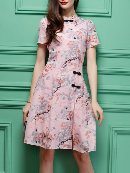 A-line Short Sleeve Buttoned Vintage Midi Dress