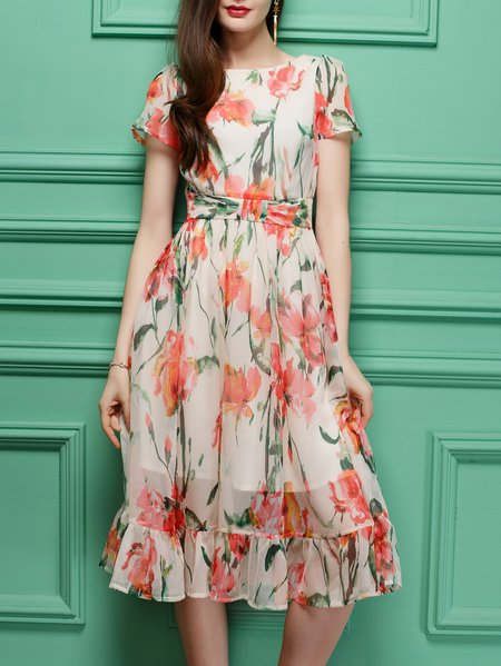 Multicolor Ruffled Short Sleeve A-line Polyester Midi Dress