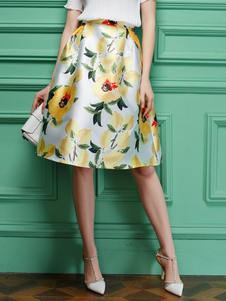 Yellow Floral A-line Folds Midi Skirt
