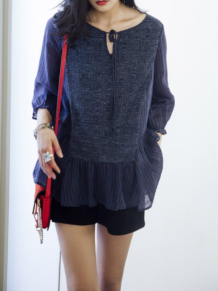Navy Blue Stripes Casual Blouse