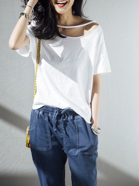 White Plain Cutout Cotton Short Sleeve T-Shirt