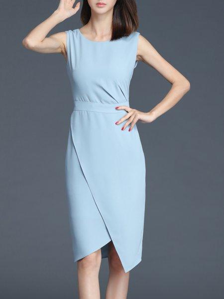 Simple Plain Sleeveless Sheath Midi Dress