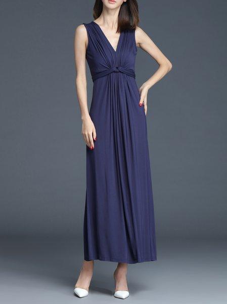 Green Plain Ruched Sleeveless Maxi Dress