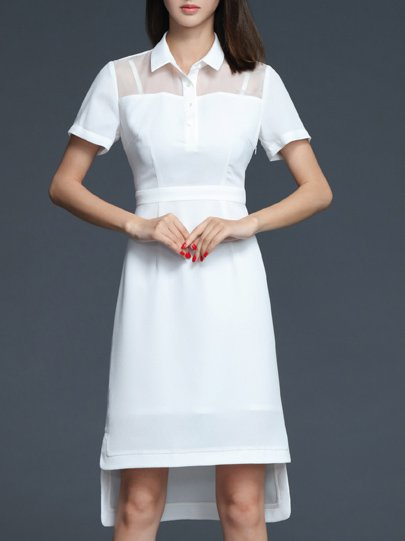 A-line Short Sleeve Slit Elegant Plain Midi Dress
