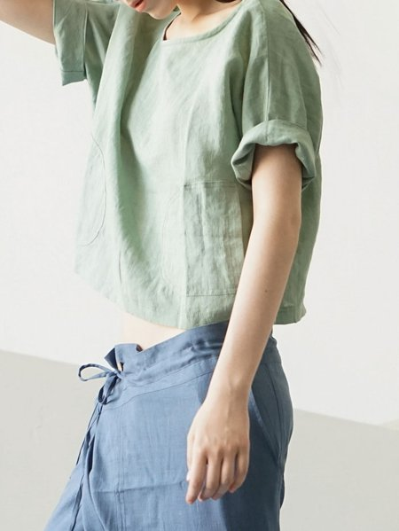 Green Plain Simple Short Sleeved Top