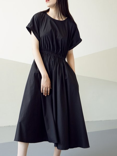 Black Plain Cotton Simple Midi Dress