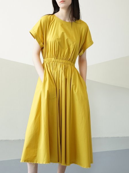 Yellow A-line Shirred Short Sleeve Solid Midi Dress