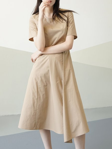 Khaki Short Sleeve Shirred Cotton Plain Midi Dress