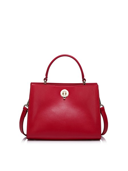 Red Solid Cowhide Leather Twist Lock Simple Top Handle