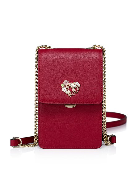 Red Sweet Cowhide Leather Mini Crossbody